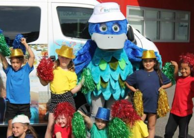 Bluey visiting the after school care programme at Arataki Community Centre